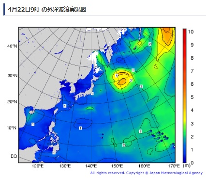 2019-4-22外洋波浪実況図