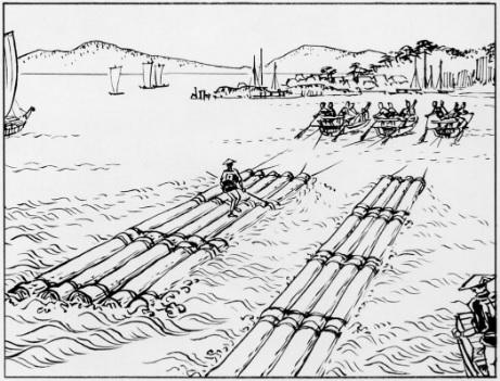 2019-5-17筏による木材運搬風景(和歌山)