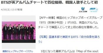 newsBTSが英アルバムチャートで首位獲得、韓国人歌手として初