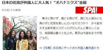 "news日本の花見が外国人に大人気! ""オハナミクス""全開"