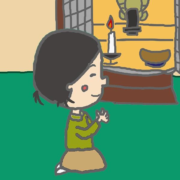 600仏壇をお参りする子供