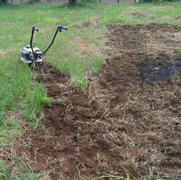 600耕運機で畑を耕す