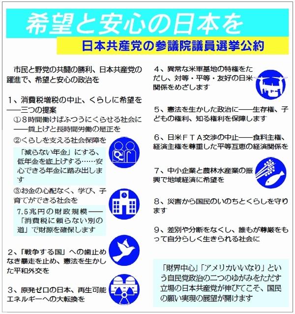日本共産党 2019参院選公約 柱
