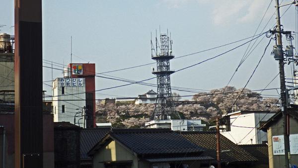 駅からお城山を望む