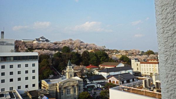山下のホテルからお城山を望む