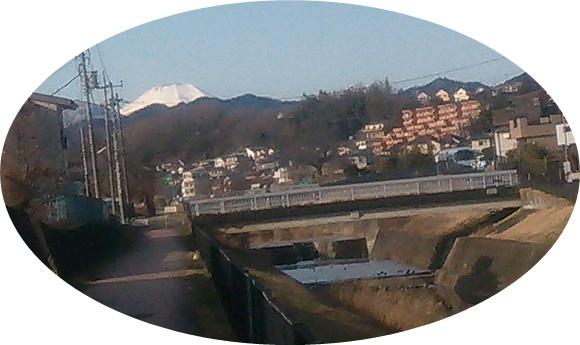 川沿いから富士山