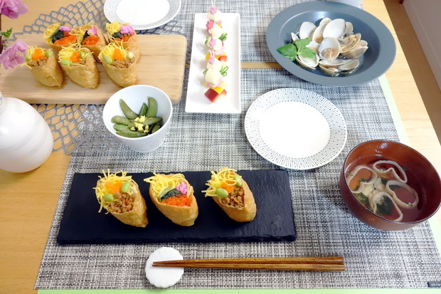 2019.3月ひなまつり料理・ダイソー・スレートプレート・いなり寿司①