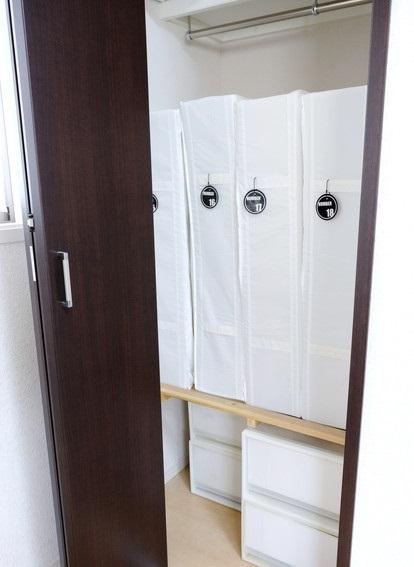 寝室・IKEA・SKUBB・収納ボックス・ラベリング・布団収納②