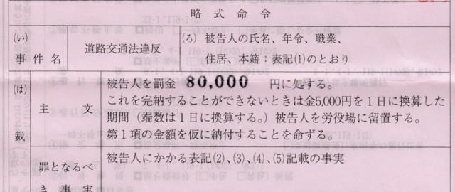 4月22日 被告人を罰金80,000円に処する